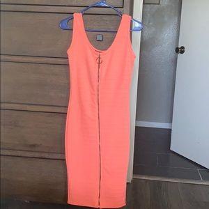 Neon pink ribbed midi dress